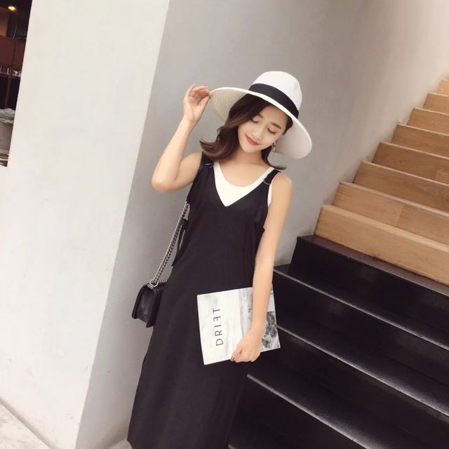 韓版V領開叉背心連身裙