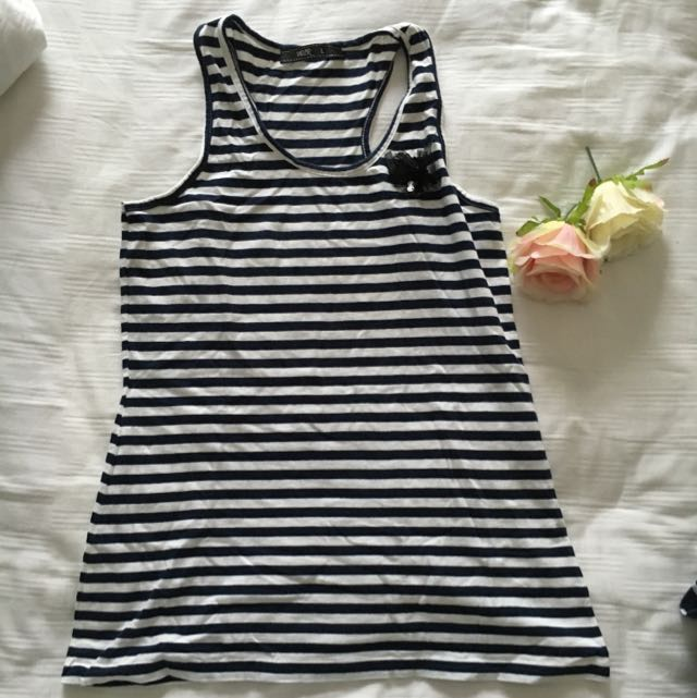Voir Striped Navy and White Tank Top / Singlet