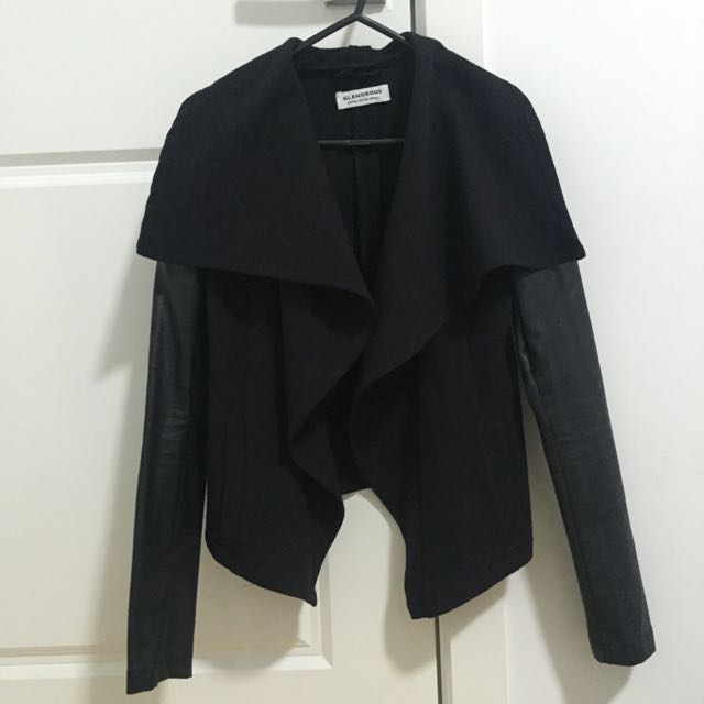 Waterfall Jacket With Leather Sleeves From Glue
