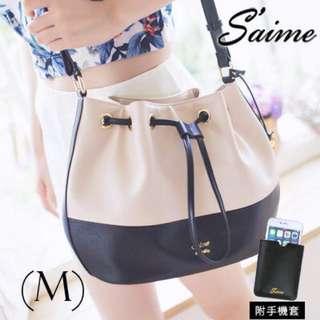 Saime 東京企劃 MONICA系列 莫妮卡吊飾水桶包(M) - 杏