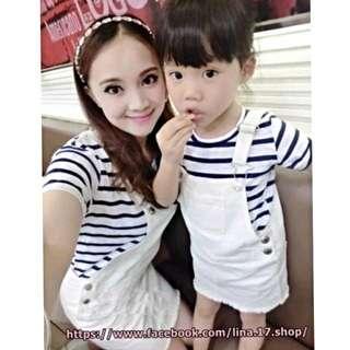 東大門 韓系 條紋 刷破吊帶裙 套裝親子裝 女童