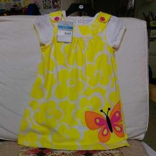 (售出)carter's 24M 女童連身衣,背心裙兩件組白底黃花款