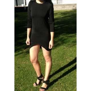 Mika & Gala Black Bodycon Dress with Cutaway Hem Design - Size 8 - New with Tags