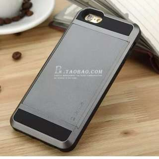 i6刷卡、 零錢硬殼手機保護殼iphone6-6s手機殼蘋果手機套防摔插卡盔甲保護套 - 銀灰
