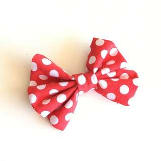 3 Inches Half Messy Bow - Red Polka Dot
