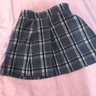 學院風 灰色 格紋 格子 短裙 假開衩