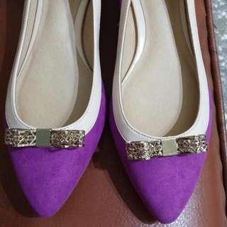 全新 專櫃正品 Sonia國民時尚-撞色尖頭內增高平底鞋-粉紫