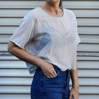 Neuw Denim Sheer Distressed Hem Top