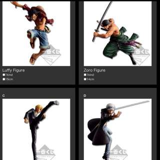 3 For $185 Ichiban Kuji One Piece Prize A, B, D