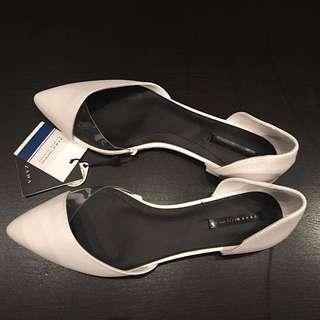 Zara Trafalgar Footwear Collection White Pointy flats