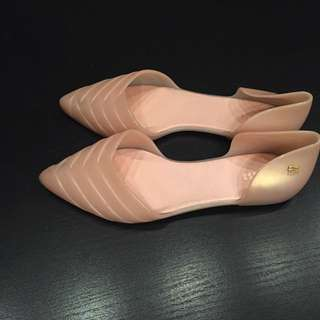 Melissa Women Shoes Petal Pointed Jelly d'Orsay Flats, Pearl Pink