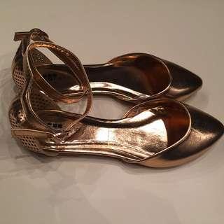 Temt Rose Gold Ankle-strap Women's Flats