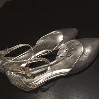 Temt Silver Ankle-strap Women's Flats