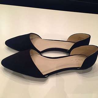 Women's Aldo Black Pointy Suede d'Orsay Flat Shoes