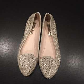 Silver White Glitter Loafer Flat Women Shoes From Korea