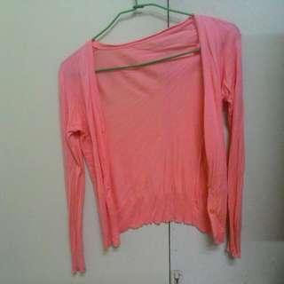 馬卡龍 橘粉色 針織 外套 薄