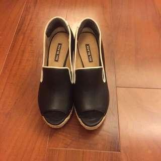 All Black 楔型鞋