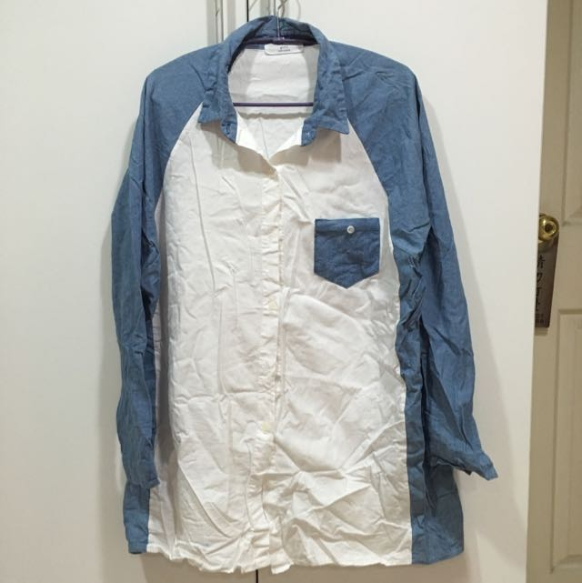 韓版棉麻長版襯衫