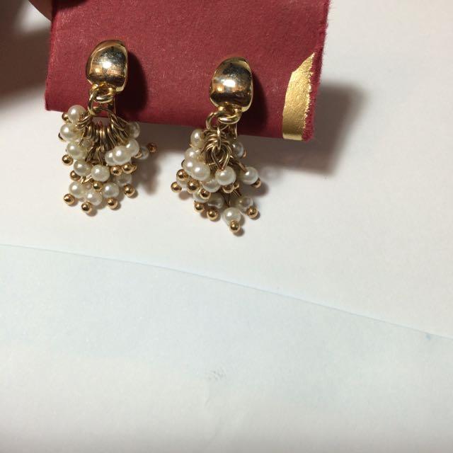 韓系 珍珠小葡萄串 夾式耳環