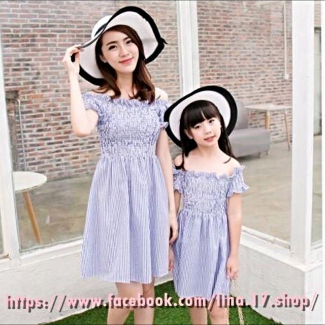 夏季新款 韓版東大門 條紋露肩一字領 親子母女洋裝