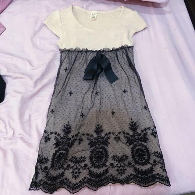 下擺黑色蕾絲 膚色 小禮服 洋裝