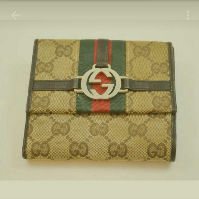 高雄 正品Gucci,堤花布 真皮 皮夾 ,1900元