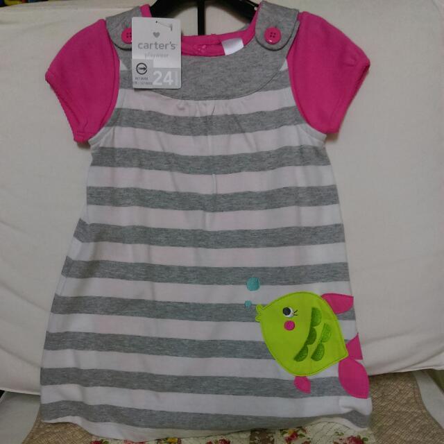 (售出)carter's 24M女童連身衣,背心裙兩件組灰白條紋款