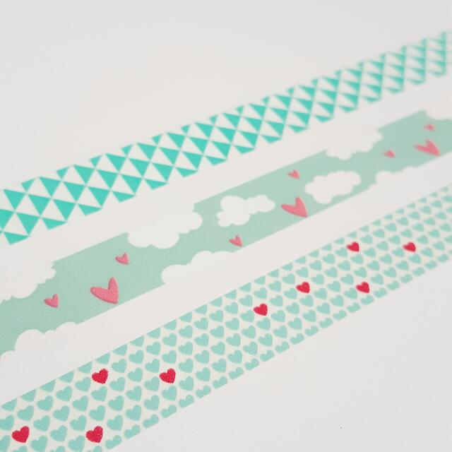 Set of 3 For Mint Lovers Washi Tape Combo