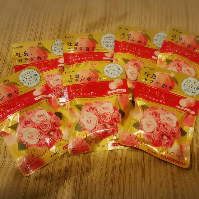 日本嘉娜寶kracie神奇水蜜桃玫瑰香體糖32g