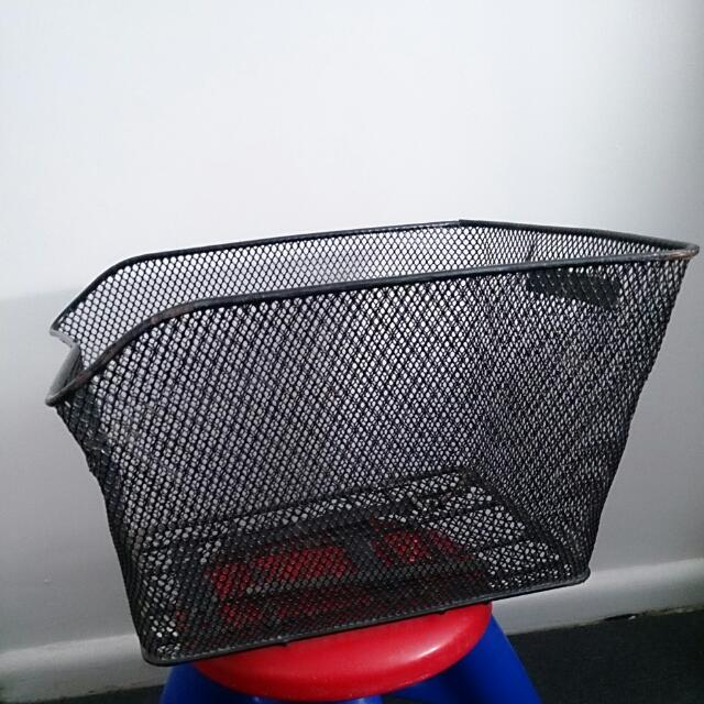 Large Black Metal Bicycle Basket With Attachments