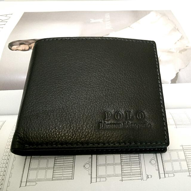 英國品牌Lisanza King Polo 正品男用皮夾 真皮牛皮 黑色