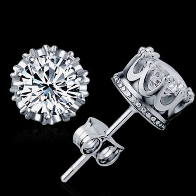 diamonds for color women jewellery earrings round earring jewelry plated item gold diamond stud engagement propose cut synthetic piece platinum