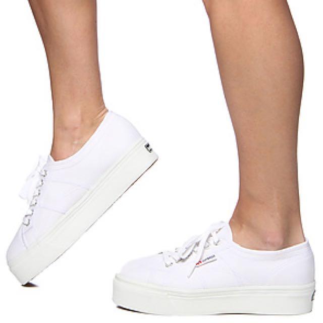 Superga 2750 Platform Shoes in White