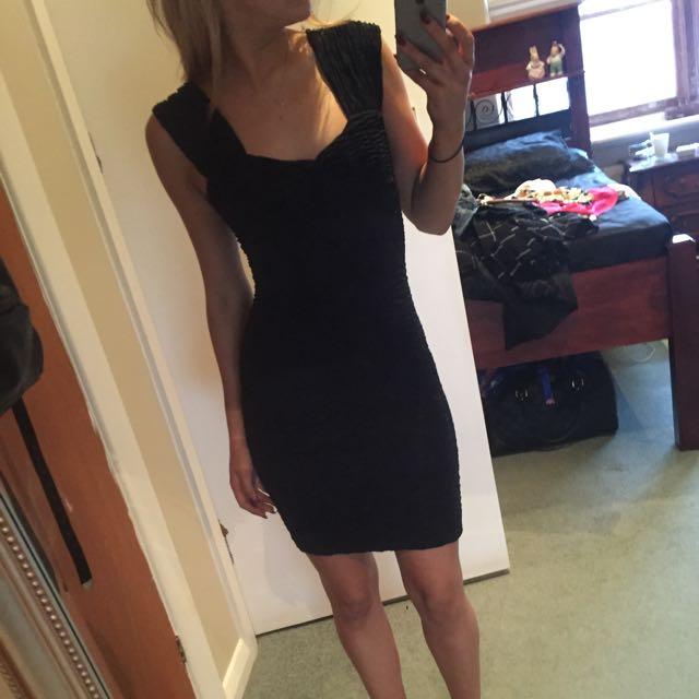 Tight Black Ruffled Mini Dress