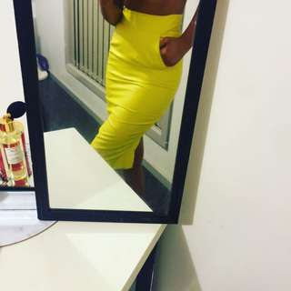 Leather Yellow Pencil Skirt