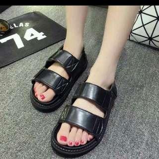韓國  學院風涼鞋  黑