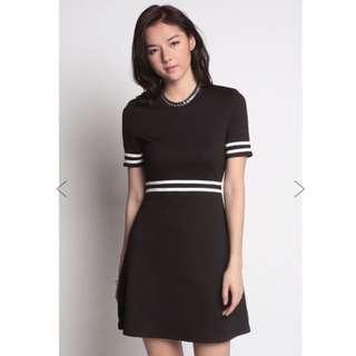 BNWT Love Bonito Kieqal Flare Varsity Dress Black Size S