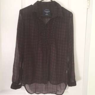 American Eagle Sheer Plaid Shirt