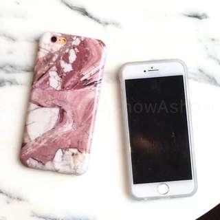 粉色 大理石 紋 iPhone 6 S Plus 手機殼 保護套