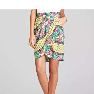 Designer BCBG Pattern Wrap Mini Skirt Sz XXS BRAND NEW