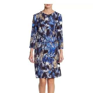 Designer BCBG Blue Print Dress Sz XXS AS NEW