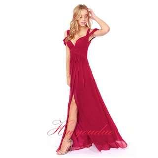 🚚 【預購款】女神系紅色雪紡材質側邊開岔長洋
