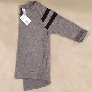 Hnm Divided Jersey Grey Top