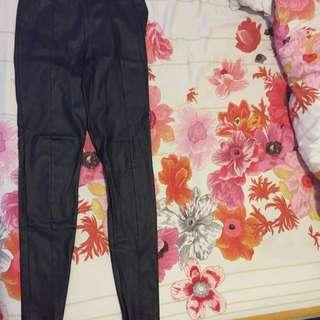 Topshop Black Leather Pants