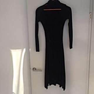 Wrap Front Black Dress