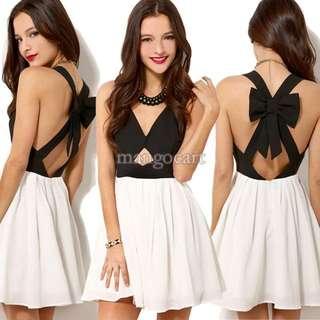 Black & White Ribbon Back Chiffon Dress