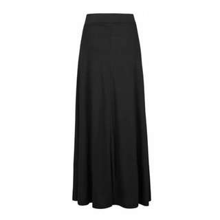 Plain Black Casual Jersey Stretch Maxi Skirt with Fluted Hem - Size 12 - 14