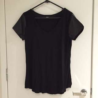 Dotti Black Shirt With Leather Sleeves
