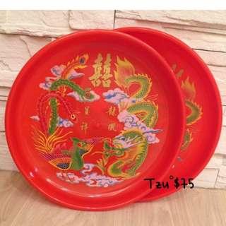 喜氣龍鳳茶皿盤(拜拜、訂結婚均可使用),330*45mm,二手商品。