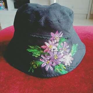 手繪花朵漁夫帽